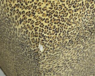 pair ottomans with exotic animal print , small rip in corner  PIC 2