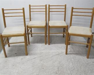 """ITEM 44--set 4 italian MCM dining chairs, seats need to be recovered. 32"""" high, 16 1/2"""" wide, 14 3/4"""" square seat.    $150.00"""