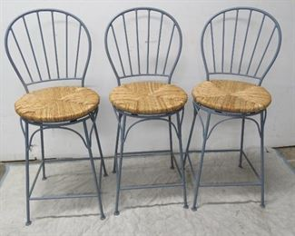 """ITEM 45-- 3 iron rush seat swivel counter stools. {some paint on rush seat]   40"""" high,  24"""" to seat    $75.00"""