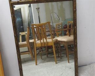 """ITEM 46-- MCM  Faux bamboo mirror  46"""" high, 28 1/2"""" wide   $175.00"""