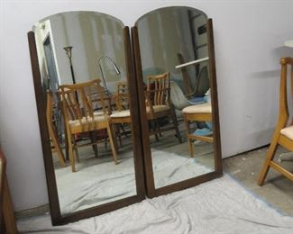 "ITEM 47-- Pair of MCM walnut beveled mirrors  44"" high,  21 1/2"" wide.   $150.00"
