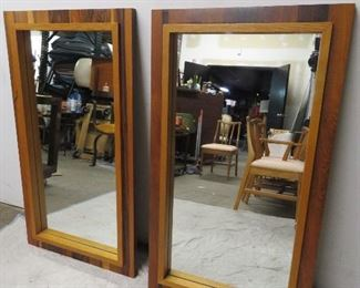 """ITEM 49--  Pair MCM rosewood and oak brutalist style mirrors. Marked made in Canada.  61"""" high, 44"""" wide.  $450.00"""