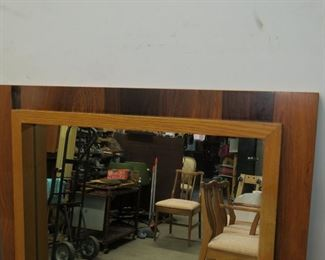 Pair MCM rosewood and oak brutalist style mirrors.    PIC 2