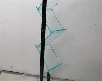 """ITEM 53---MCM lucite 6 shelf display rack [some scratches].             61 1/2"""" high,11"""" wide, base 17"""" x 12"""", shelves 10"""" x 13"""".  $75.00"""