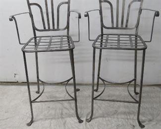 """ITEM 54---Pair modern steel bar stools. 44"""" high, 21 3/4"""" deep,        21 1/4 wide,   seat height 27 1/2"""" high  $100.00"""