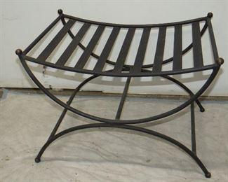 "ITEM 55--Savonarola style iron bench with patinated knobs.       23"" wide ,15 3/4"" deep, 16 1/2"" high.  $75.00"