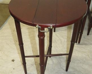 Mahogany faux bamboo nest of drop leaf tables. PIC 2