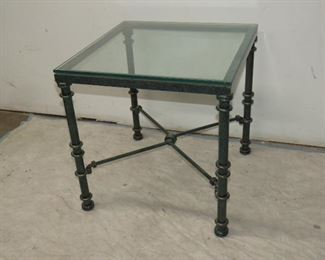 """ITEM 58---iron glass top table.  20"""" high, 20""""wide  x 20"""" deep   $60.00"""