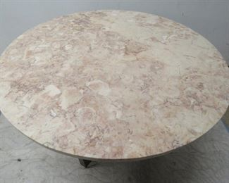 """MCM brass and marble top dining table. 40"""" diameter, 29"""" high. [minor rim chips] PIC 2"""
