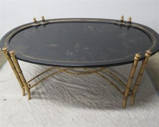 """ITEM 62---contemporary faux bamboo paint decorated coffee table. 59.1/2 """" long,  37"""" wide, , 22"""" table height, 24""""  highest point.  $250.00"""