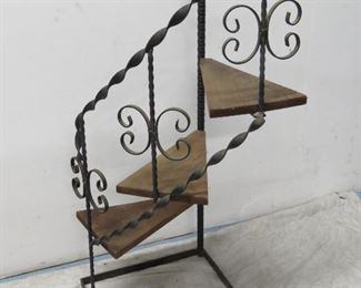 """ITEM 36-- iron and wood step shelf/plant stand. 39"""" high, 15.5""""wide, 15' deep. $75.00"""
