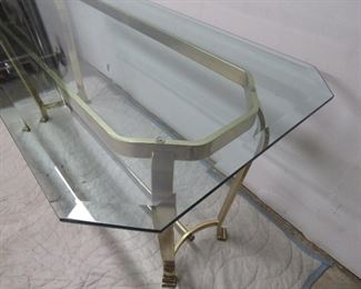 Hollywood Regency brass console table.  PIC 2