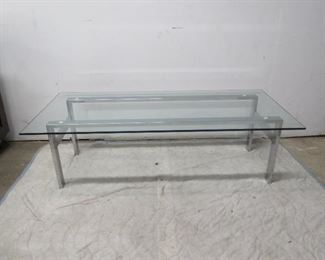 MCM chrome base, glass top coffe table. [small chip glass at corner.  PIC 3