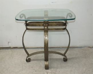 """ITEM 66---Brutalist style wrought iron w/ beveled glass top. 271/4"""" long, 20 1/4 wide, 29 1/4"""" high. $150.00"""
