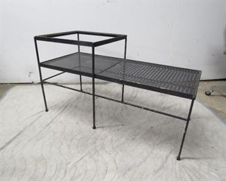 """ITEM 69---MCM iron 2 tier bench.[missing glass top, some paint loss]. 22 1/2' long, 14 1/2"""" wide,22 1/4"""" high.  $150.00"""