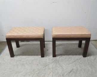 """ITEM  70---Pair Drexel upholstered wooden benches, [fabric has stains] 22.5"""" long, 14.5"""" wide, 16 3/4"""" high. $ 100.00"""
