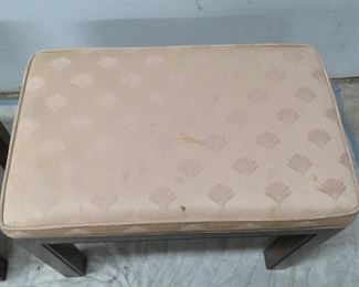 Pair Drexel upholstered wooden benches, [fabric has stains]  PIC 2