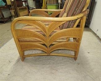 Rattan armchair palm tree motif.  PIC 2