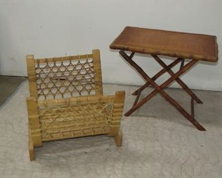 """ITEM 75---Bamboo folding table and  bentwood , snowshoe, rawhide log holder. Table 24.5"""" long, 16.5"""" wide, 20 1/4' high. log 20 1/4 long, 24"""" deep, 17"""" high.  $100.00"""