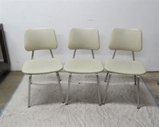 """ITEM 78---3 chrome and vinyl chairs, 17"""" w, 20"""" deep, 31"""" high 17 3/4' to seat.  $60.00"""