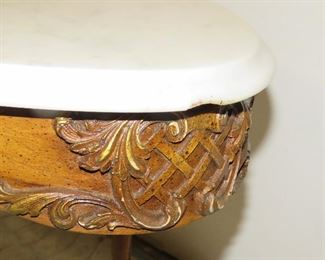 carved marble top table, [chip end of marble]  PIC 2