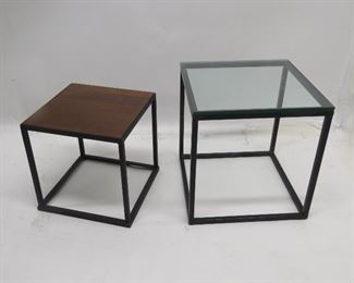 """ITEM 80---2 MCM metal cube tables.  glass top 18"""" x 18"""" x 18 1/4 """" high, wood top 14.5"""" x14.5"""", 15 1/4""""high. some paint wear.  $125.00"""