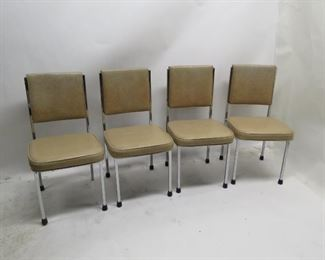 """ITEM 81---4 MCM chrome and vinyl dining chairs. missing 1 chrome button, some rust spots. 17 3/4"""" wide, 20.5"""" deep, 35"""" high 18 3/4 to seat.  $100.00"""