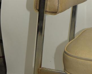 4 MCM chrome and vinyl dining chairs. missing 1 chrome button, some rust spots.  PIC 2