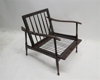"""ITEM 83---single MCM lounge chair no cushions, finish as is, 26.5"""" wide, 30"""" deep, 26.5"""" high  $125.00"""