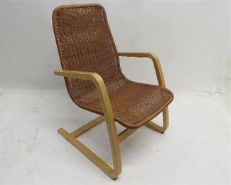 "ITEM 85---Ikea wicker lounge chair 22} wide,25"" deep, 33"" high, 14"" to seat. $75.00"