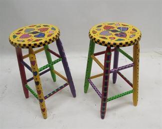 "ITEM 90---Pair of hand painted stools  13"" diameter seats, 24.5"" high.  $60.00"