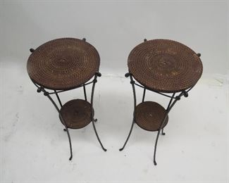 """ITEM 93--- pair of wicker and iron plant stands. 14"""" diameter, 30"""" high.  $75.00"""