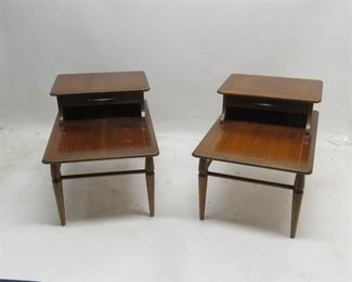 """ITEM 94---Pair of MCM end tables. scratches, legs wobbly, needs re-glue. 30"""" long, 20"""" wide, 21"""" high  $100.00"""