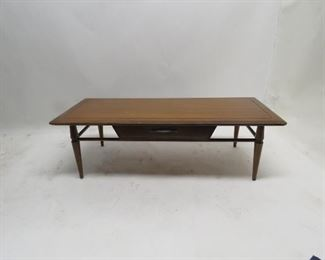 """ITEM 95 ---MCM coffee table with drawer, legs wobbly, 48"""" long,20"""" wide, 14.5"""" high. $ 100.00"""