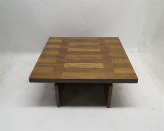 "ITEM 96 ---Lane MCM brutalist style coffee table. 40""L  x  40""W,  15 1/4"" high. $200.00"
