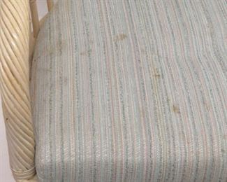 4 rolling rattan upholstered swivel dining chairs, marks on material,  PIC 2