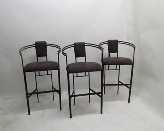 """ITEM 98---3 upholstered metal bar stools. 23""""wide, 20"""" deep, 41.5"""" high, 29"""" to seat. $150.00"""