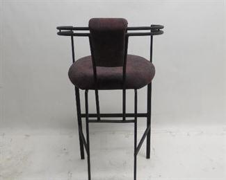 3 upholstered metal bar stools. PIC 2