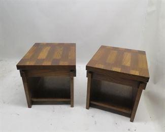 "ITEM 101---Lane MCM brutalist style end tables. veneer chip and surface wear.. 22"" wide, 27"" deep, 21"" high. $200.00"