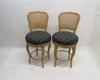 """ITEM 104---pair french style cane back swivel  bar stools. 20"""" diameter seat, 39.5"""" high, 22"""" high to seat.  $80.00"""