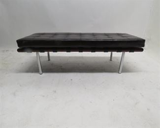 """ITEM 112---contemporary copy of Mies Van Der Rohe Style - Barcelona bench  with tufted leather cushion, 50"""" long, 18"""" wide, 15"""" high  $250.00"""