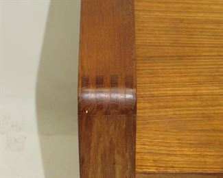 MCM danish teak rolling cart with dovetailed corners.   PIC 2