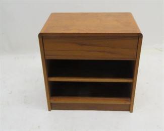 """ITEM 115 ---Danish teak nightstand, 23 3/4"""" wide, 15 1/4"""" deep, 24"""" high. $40.00"""