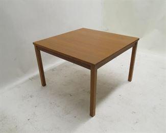 """ITEM 116 ---Danish teak table,  minor leg blemishes. removable legs. 27.5"""" square, 18 3/4"""" high,  $75.00"""