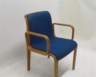 ITEM 117---Knoll MCM bentwood armchair, split in side, upholstery AS IS. $ 40.00
