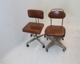 """ITEM 121A —-2 MCM industrial adjustable swivel chairs.  round back 16 3/4""""wide, 18"""" deep,   $100.00"""