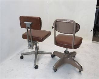 2 MCM industrial adjustable swivel chairs  PIC 2