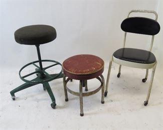 "ITEM 125 ---2 adjustable swivel stools, 1 metal chair,  green stool-seat 14"" diameter, base 27"" wide.   Chair-30"" high,16"" wide, 19"" deep. Red stool14"" diameter seat, 15"" w base.  $ 150.00"
