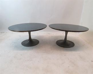"""ITEM 130---pair of Saarinen style tulip metal base tables with laminate.  tops have chips and edges are worn. 29.5"""" diameter, 15"""" high  $175.00"""
