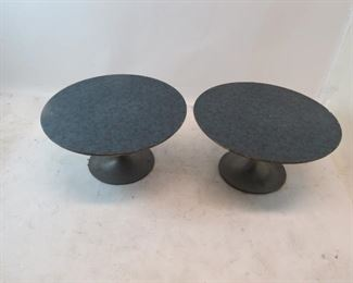 pair of Saarinen style tulip metal base tables with laminate.  tops have chips and edges are worn. PIC 4